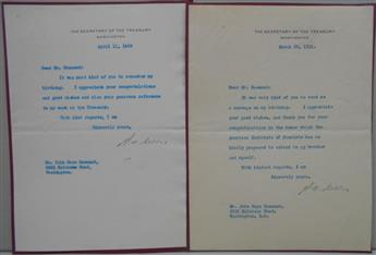 (BUSINESS.) MELLON, ANDREW W. Two Typed Letters Signed, A.W. Mellon, to John Hays Hammond,