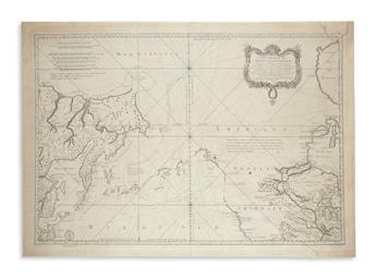 BELLIN, JACQUES NICHOLAS. Carte Reduite de lOcean Septentrional Compris Entre lAsie et lAmerique.