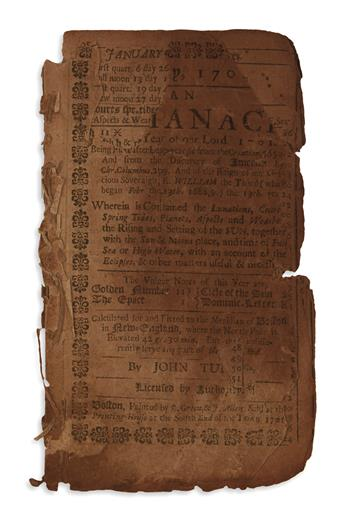 (EARLY AMERICAN IMPRINT.) Tulley, John. Am Almanack for the Year of our Lord 1701.