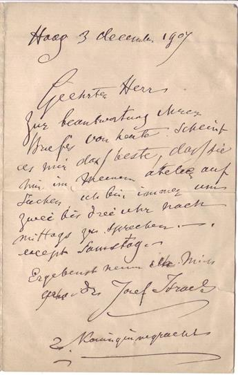 ISRAËLS, JOZEF. Autograph Letter Signed, to an unnamed recipient (Dear Sir), in German,