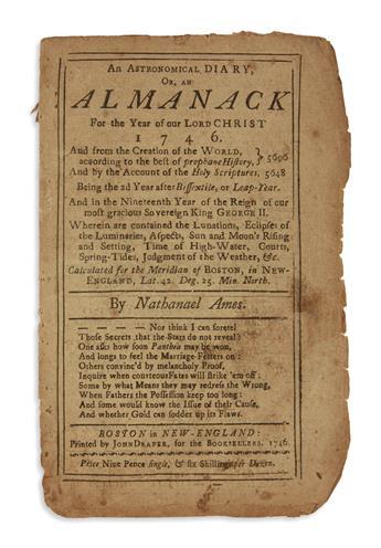 (EARLY AMERICAN IMPRINTS.) Group of 4 almanacs.