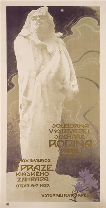 VLADIMIR ZUPANSKY (1869-1928). SOUBORNA VYSTAVA DEL SOCHARE RODINA. 1902. 63x32 inches, 160x82 cm. Unie, Prague.
