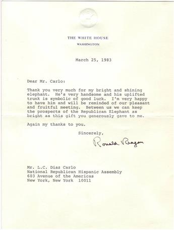 REAGAN, RONALD. Typed Letter Signed, as President, to L.C. Diaz Carlo,