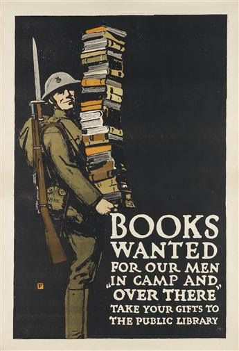 CHARLES BUCKLES FALLS (1874-1960). BOOKS WANTED. Circa 1918. 42x28 inches, 106x71 cm. [The Gill Engraving Company, New York.]