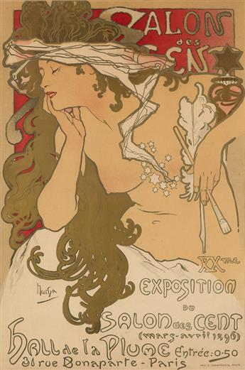 ALPHONSE MUCHA (1860-1939). SALON DES CENT. 1896. 24x17 inches, 62x43 cm. F. Champenois, Paris.