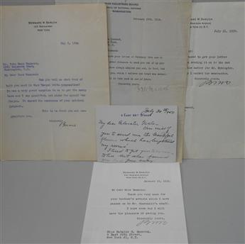 (BUSINESS.) BARUCH, BERNARD M. Group of 5 letters, each Signed, Bernie, BMBaruch, or Bernard M Baruch, to John Hays Hammond, his