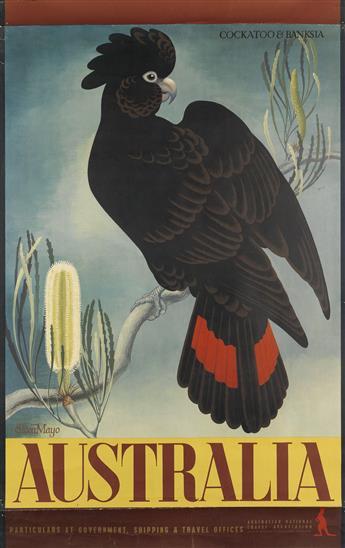 EILEEN MAYO (1906-1994). AUSTRALIA / COCKATOO & BANKSIA. 1956. 39x25 inches, 101x63 cm. McLarens, Melbourne.