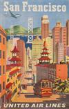JOSEPH FEHER (1909-1988). SAN FRANCISCO / UNITED AIR LINES. 40x25 inches, 101x63 cm.