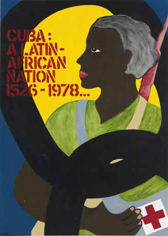 (CUBA.) Group of 5 original poster illustrations in support of Cuba.