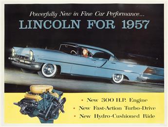 DESIGNER UNKNOWN. LINCOLN FOR 1957. 1957. 35x47 inches, 90x120 cm.