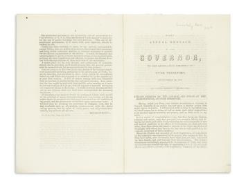 (UTAH.) Young, Brigham. First Annual Message of the Governor to the Legislative Assembly of Utah Territory.