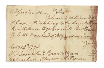 HENRY, PATRICK. Fragment of an Autograph Letter, to Moses Smith,
