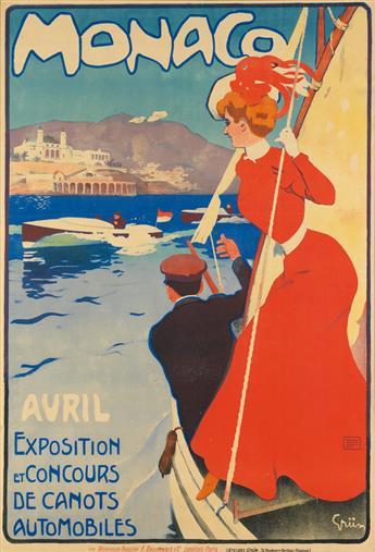 JULES-ALEXANDRE GRÜN (1868-1938). MONACO / EXPOSITION ET CONCOURS DE CANOTS AUTOMOBILES. 1905. 48x33 inches, 123x84 cm. F. Daubenbis &