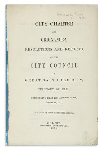 (UTAH.) City Charter and Ordinances . . . of Great Salt Lake City.