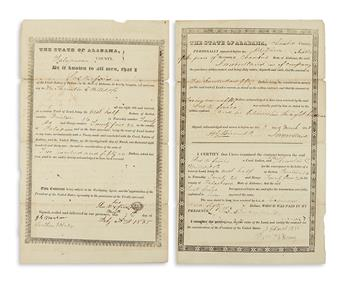 (AMERICAN INDIANS.) Group of 3 deeds from Creek Indians to white settlers in Alabama.