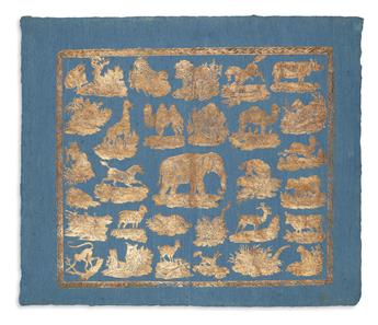 (NATURAL HISTORY.) G.N. Renner & Abel. Gilt-embossed animal-themed brocade on blue-washed laid paper.