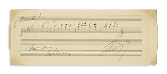 LISZT, FRANZ. Autograph Musical Quotation dated and Signed, FLiszt, 4 bars from The Legend of Saint Elizabeth,