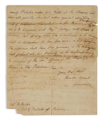 (AMERICAN REVOLUTION.) CORNWALLIS, CHARLES. Autograph Letter Signed, Cornwallis, to Deputy Inspector of Militia Abraham de Peyster,