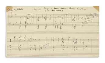 MACDOWELL, EDWARD ALEXANDER. Autograph Musical Manuscript Signed, twice, 8 bars from his Third Sonata (Norse, Op. 57),