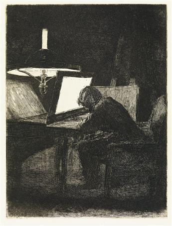 FRANÇOIS BONVIN Graveur, Effet de Lampe.