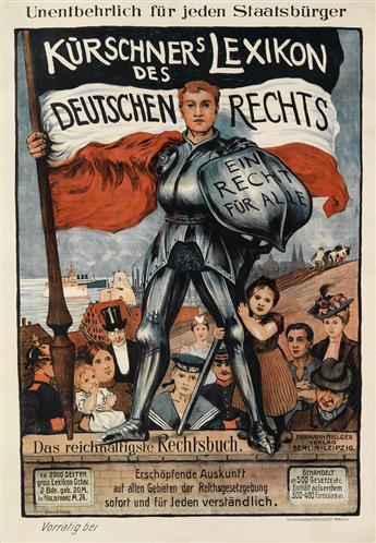 HEINRICH HÜBNER (1869-1945). KÜRSCHNERS LEXIKON DES DEUTSCHEN RECHTS. 1900. 35x24 inches, 90x63 cm. Schneider & Co., Attenburg.
