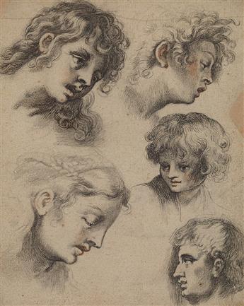 GERMAN SCHOOL, 18TH CENTURY A Sheet of Studies of Heads.