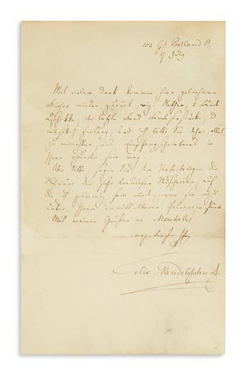 MENDELSSOHN-BARTHOLDY, FELIX. Autograph Letter Signed, Felix Mendelssohn B, to Mrs. Moscheles, in German,