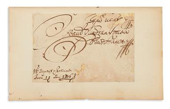MAZEPA, IVAN STEPANOVICH. Clipped Signature, as Hetman, bound into a copy of Lord Byrons Mazeppa.