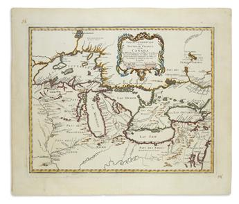(GREAT LAKES.) Homann Heirs; after Bellin, Jacques Nicolas. Partie Ocidentale de la Nouvelle France ou du Canada.