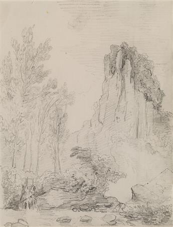 HUBERT ROBERT (Paris 1733-1808 Paris) A Landscape with a Rocky Peak.