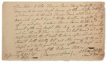 (AMERICAN REVOLUTION.) READ, GEORGE. Autograph Document Signed, Geo:Read AttyPltff,