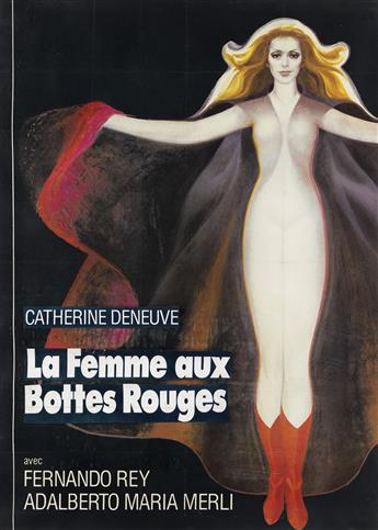 DESIGNER UNKNOWN. LA FEMME AUX BOTTES ROUGES / CATHERINE DENEUVE. 1974. 42x30 inches, 108x77 cm.