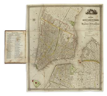 (NEW YORK CITY.) A Guide to the City of New York; Containing an Alphabetical List of Streets, &c. Accompanied by a New and Correct Map.