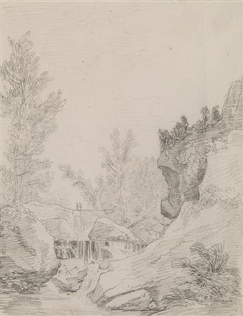 HUBERT ROBERT (Paris 1733-1808 Paris) A Landscape with a Gorge.