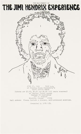 DESIGNER UNKNOWN. THE EXCITEMENT OF THE JIMI HENDRIX EXPERIENCE. Flyer. 1969. 14x8 inches, 35x21 cm.