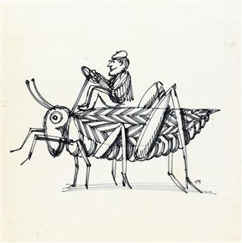 (ADVERTISING) JOHN ALCORN. Man Riding Cricket * Rabbit.