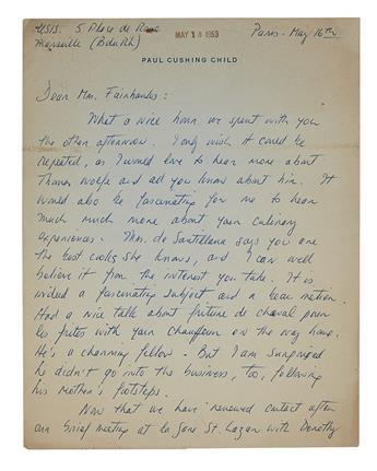 CHILD, JULIA. Autograph Letter Signed, to Dear Mrs. Fairbanks,