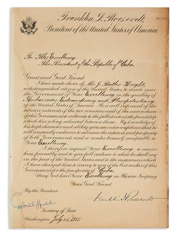 ROOSEVELT, FRANKLIN D. Partly-printed Letter Signed, as President, to the President of the Republic of Cuba [Federica Laredo Brú],