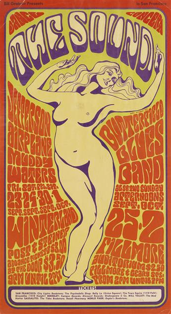 WES WILSON (1937- ). THE SOUND / JEFFERSON AIRPLANE. 1966. 24x14 inches, 61x36 cm.