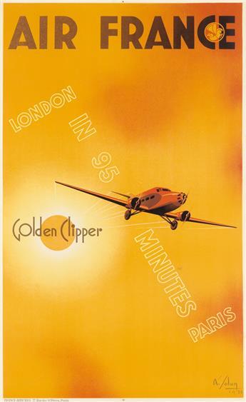 ALBERT SOLON (1897-1973). AIR FRANCE / GOLDEN CLIPPER. 1933. 38x23 inches, 97x59 cm. France-Affiches, Paris.