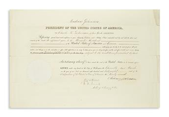 JOHNSON, ANDREW. Partly-printed Document Signed, as President, appointing Charles K. Tuckerman Minister Resident at Greece.