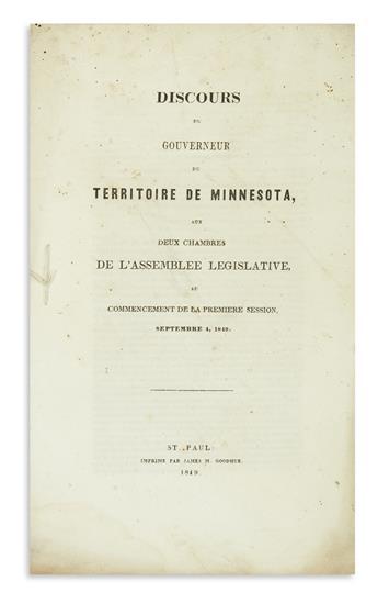 (MINNESOTA.) [Ramsey, Alexander.] Discours du Gouverneur du Territoire de Minnesota.