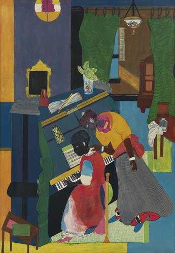 ROMARE BEARDEN (1911 - 1988) Homage to Mary Lou (The Piano Lesson).