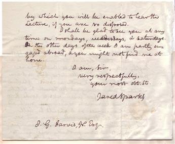 SPARKS, JARED. Autograph Letter Signed, to J.G. Jarvis, Jr.,