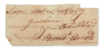 ARNOLD, BENEDICT. Clipped portion of an Autograph Letter Signed, Benedt Arnold, to an unknown recipient, including only the closing