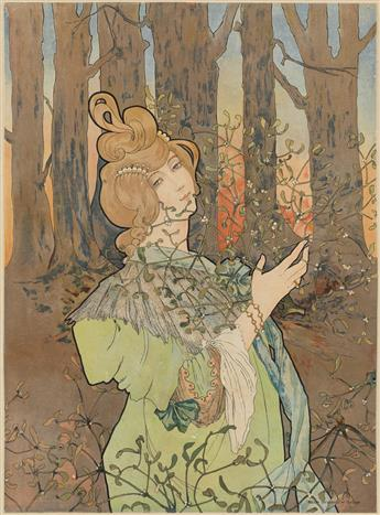 MARY GOLAY (1869-1944). [FEMME DANS LE FORET.] 19x14 inches, 50x36 cm. Maison Universelle, Toulouse.