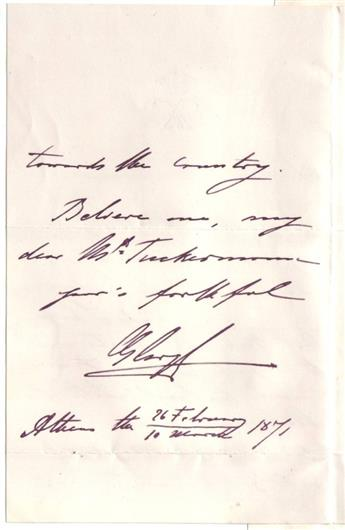 GEORGE I; KING OF GREECE. Autograph Letter Signed, GeorgeR, to U.S. Ambassador to Greece Charles K. Tuckerman,