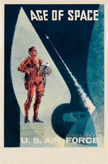 BILL HOFFMAN (DATES UNKNOWN). U.S. AIR FORCE / AGE OF SPACE. Circa 1961. 38x25 inches, 89x63 cm. Brose Offset, New York.