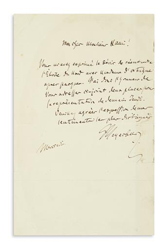 MEYERBEER, GIACOMO. Autograph Letter Signed, Meyerbeer, to My dear Mister Lanis[?], in French,