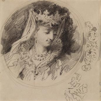 CHARLES ROCHUSSEN (Kralingen 1840-1894 Rotterdam) A Medallion with a Portrait of a Renaissance Queen.